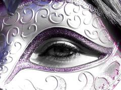 Masked Eye (whitesepulchre) Tags: carnival woman eye girl glitter canon mask makeup mysterious stare mascara frau auge mdchen karneval maske schminke sx50 canonpowershotsx50