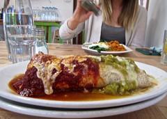 xmas chile (coraqura) Tags: newmexico breakfast burrito redchile greenchile