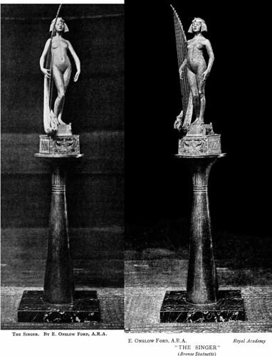 Edward Onslow Ford (1852-1901) - The Singer (1889), front (adjusted) and front left on pedestal