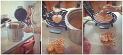Making Waffles Norwegian Style (Anne Worner) Tags: blur texture lensbaby baking triptych bend mother layer waffles batter waffleiron coolingrack ononesoftware sweet35 anneworner