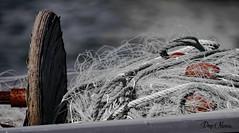 stool and fishing net - tabouret et filet de peche (png nexus) Tags: red bw rouge nb desaturation