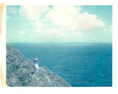 Overlook (~KIM~) Tags: horizon ocean clouds film expired iduv polaroid hawaii oahu lighthouse