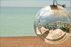 Glitter Ball on Brighton Beach (Sandrine Vivs-Rotger photography) Tags: uk blue beach seaside brighton glitterball