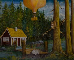 THE AIRBALLOON (tomas491) Tags: bridge fantasy art oilpainting cat waterlily forest trees tree squirrel cabin house woods water mountain birds flowers man stones painting clouds landscape airballoon