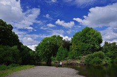 Fisherman's spot (Sundornvic) Tags: river severn water gravel banks trees sky blue clouds white peaceful fishing
