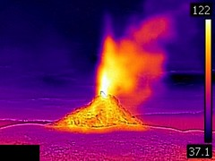 Thermal image of White Dome Geyser eruption (8:59-9:01 PM, 7 June 2016) 1 (James St. John) Tags: white dome geyser group lower basin yellowstone hotspot volcano wyoming eruption eruptions erupt erupts erupting thermal image photo picture temperature