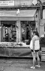 2016175 (ruggeroranzani_RR) Tags: people analog blackandwhite 35mm film fomapan100 r09 leicam6 ernstleitzwetzelarsummicronf5cm12 woman seagull fishmarket rialto venice filmdev