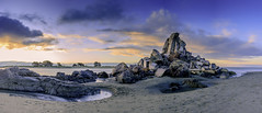 Shagged Rock Pano (d_willing) Tags: landscape pano panorama christchurch chch beachscape seascape shagged rock coast coastal coastline nz nzlnewzealand sunset sunrise rocks vibrant water sea ocean pools