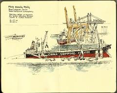 Feng Huang Feng (Luis_Ruiz) Tags: ship vessel bulk carrier china malaga port crane container dibujo sketch shipping bulker feng huang moleskine