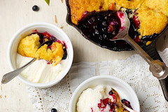 Blueberry -apricot  cobbler . style vintage (Zoryanchik) Tags: cobbler berry dessert sweet bake fruit homemade food snack blackberry fraingpan baked spoon pastry portion summer gourmet breakfast cooked crust berries apricot