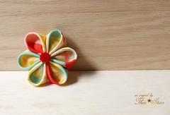 Patchwork Kimono Hair Flower Clip (thea superstarr) Tags: silk japanesestyle handmadeflowers fabricflower hanakanzashi theastarr vintagekimonofabric