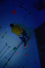 GRO_8318 (WK photography) Tags: chalk climbing blacklight bouldering grotto headlamp rockclimbing glowsticks guelphon rockshoes guelphgrotto