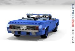 Plymouth 1971 HEMI 'Cuda Convertible (lego911) Tags: auto blue usa classic car america 1971 model lego render under detroit over plymouth convertible corporation million hemi chrysler 1970s cuda barracuda challenge v8 thousand cad 89 povray moc softtop ldd b6 miniland lego911 overamillionunderathousand