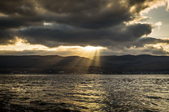 Dunoon (GenerationX) Tags: sunset sea sun water clouds river landscape evening scotland waves unitedkingdom dusk scottish neil rays buoys gourock bouys barr crepuscular dunoon inverclyde firthofclyde clochpoint