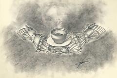 Caff...forte (Zz manipulation) Tags: art drawing charcoal espresso caff tazzina matita disegno ambrosioni zzmanipulation