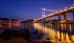 Bridges (DENNIS CHAU | FOTOGRAPHY) Tags: nikond750fullframedslrfxdigitalcameralightroomdennischau|fotography nikonafsnikkor20mmf18gedfastultrawideangleuwaprimelens20051 longexposure siruit1204xcarbonfibertripodmanfrotto496rc2ballhead starburstlightburst reflection oceanseaseascape tsingmabridge hongkonghk gradient colorcolour waterreflection lights nightscape landscape