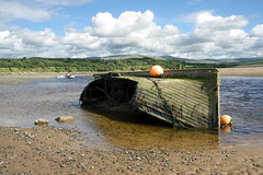 Old and New (kailhen) Tags: boat water broken wreck estuary ravenglass fells cumbria cumbrian lake district river