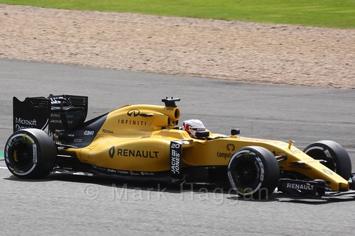 Kevin Magnussen in his Renault in Free Practice 2 at the 2016 British Grand Prix