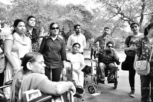 Accessible Tour of Red Fort, New Delhi: The group listening to the history of the Fort
