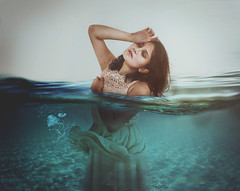 Drowning. (Daniela De la Rosa) Tags: blue selfportrait water girl photoshop interior surreal shorthair inside 365 lovely conceptual drowning drown waterproof fotomontaje