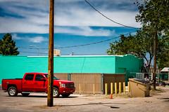 girl on a ladder, Willcox, AZ, USA (lumierefl) Tags: willcox cochisecounty arizona az unitedstates usa northamerica southwest western frontier silverado chevrolet truck red alley
