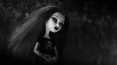 Listening to the sounds of silence (Allan Saw) Tags: spectravondergeist monsterhigh doll toy blackandwhite monotone night fine art