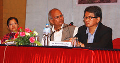 Speakers L-R Sunila Rai, YB Thapa, and Moderator Devendra Gauchan by