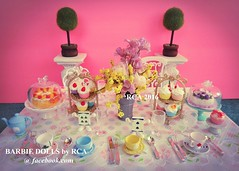 mini doll tea party (Barbie dolls by RCA) Tags: cake tea cups saucer rement alice wonderland barbie look doll party