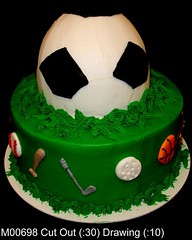 M00698 (merrittsbakery) Tags: cake tiered shaped sports soccer baseball golf basketball athlete