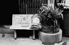 Sansabai - Bangkok (35mm) (jcbkk1956) Tags: film ilfordpan100 analog nikon nikkor f2 50mmf2 manual bangkok thailand streets seat plants concrete sansabai plates newspapers shoe grill stickers