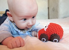Joonas and car rattle (muustare) Tags: red baby cute car soft handmade crochet yarn softie cotton organic etsy amigurumi crocheted teether rattle babytoy babyrattle bymarika handmadebymarika