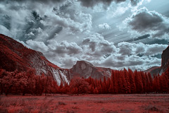 The View from the Meadow (eCHstigma) Tags: california trees usa mountains nature beautiful clouds america forest landscape outdoors us nationalpark spring nikon view yosemite halfdome infrared yosemitenationalpark fullspectrum d5200 tokinaultrawide