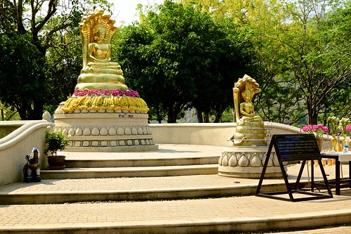 Buddha images near the dam of Srinakarin lake in Kanchanaburi province, Thailand
