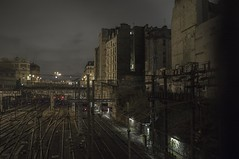 . (Le Cercle Rouge) Tags: street light paris france night darkness trains garedunord lachapelle 75010
