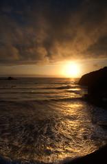 Sunset in Bude - Cornwall II (Jan Altenschmidt) Tags: shoreline landscape sunset goldenhour greatbritain canon clouds beautifulsky beach ocean travelphotography 5dmarkii seascape england yellow marine cornwall