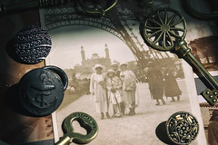 1920's Family Under The Eiffel Tower (cuppyuppycake) Tags: 1920s family memories happy tourists the eiffel tower france vintage retro keys buttons happiness