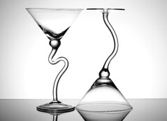 A Duo with Curves (Karen_Chappell) Tags: curves shapes glass glasses two 2 white bw blackandwhite stilllife martini stemware