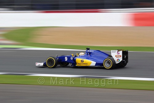 Marcus Ericsson in his Sauber in Free Practice 3 at the 2016 British Grand Prix