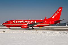 OY-MRF - Boeing 737-7L9(WL) - Sterling Airlines (Bjoern Schmitt) Tags: oymrf boeing 7377l9wl sterling airlines cn 28009221 salzburg side austria airplane snow 737