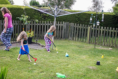 kids playing golf in the garden (grahamdale74) Tags: alyssia caitlin chel roy joan mum dad 2016 south wales