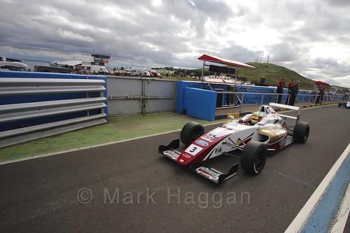 Sennan Fielding after the final British Formula Four race during the BTCC Knockhill Weekend 2016