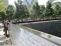 World Trade Center Memorial Fountains 2016 NYC 4355 (Brechtbug) Tags: 911 memorial fountain lower manhattan 2016 nyc footprint world trade center wtc ground zero september 11 2001 downtown new york city 2011 fdny public monument art fountains 08272016 foot print freedom tower today west skyscraper building buildings towers reflection pool water falls waterfalls wall walls pools tier tiered 15 years fifteen five