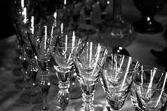 75/100x - Glassware (Nomis.) Tags: canon eos 700d t5i rebel canon700d canoneos700d rebelt5i canonrebelt5i monochrome mono bw blackandwhite 100x 100xthe2016edition 100x2016 image75100 sk201608180250raweditlr sk201608180250 raw lightroom table glass display drinks glasses wine wineglasses wineglass glassware place setting formal etiquette diningroom dining room diningtable tablecloth shining reflect reflection placement light highlights