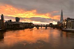 The Great Fire of London (pentlandpirate) Tags: london river thames towerbridge england uk greatbritain sunrise dawn theshard flames