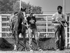 Horsesense (clarkcg photography) Tags: horse cowgirl cowboy arena practicerodeo watching horsesense blackandwhite blackandwhitethursday7dwf 7dwf
