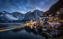 Hallstatt Classical (explored) (hpd-fotografy) Tags: alpen alps austria hallstatt unesco bluehour boat cold ferry lake landscape light mountain nature outdoor reflection winter worldheritage sterreich ~themagicofcolours~xiii