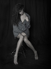 Girl in mans shirt (keith ellwood) Tags: beauty black white tonal beautiful sensual pretty