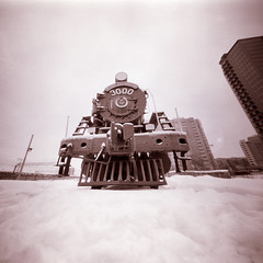steam locomotive (anyurtan) Tags: camera winter bw snow 120 film analog square russia steam pinhole siberia locomotive rodinal novosibirsk obscura steelwheels fomapan