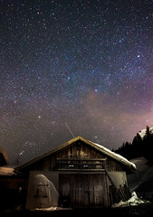 the barn (nils_P) Tags: winter sky snow alps night barn dark stars austria sterreich spooky alpen obertauern milkyway explore14