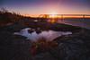 Sunset (Arvid Björkqvist) Tags: longexposure bridge sunset sea orange sun purple sweden shore silky solnedgång lilleby nd110 canon6d